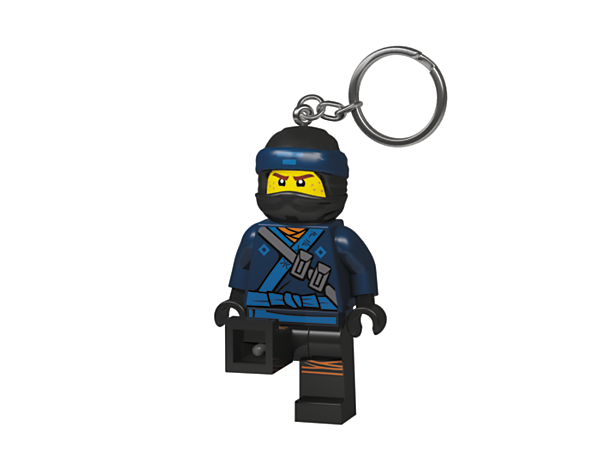 <p>Aim light beams with THE LEGO® NINJAGO® MOVIE™ Jay Key Light, featuring a large, posable minifigure key chain with bright LED lights and an auto shut-off switch.</p>