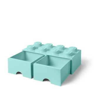 LEGO® 8-Stud Aqua Light Blue Storage Brick Drawer