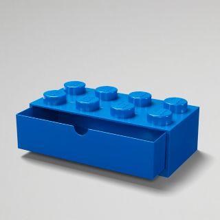 Brique de rangement bleue LEGO® à tiroir et à 8 tenons