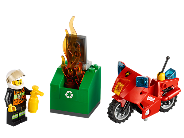 Race to the recycling container fire on the LEGO® City Fire Motorcycle and use the fire extinguisher to put out the flames!