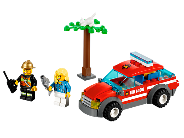 Build a LEGO® City rescue scene to save the cat from the tree with the fire chief, his car and tons of cool accessories!