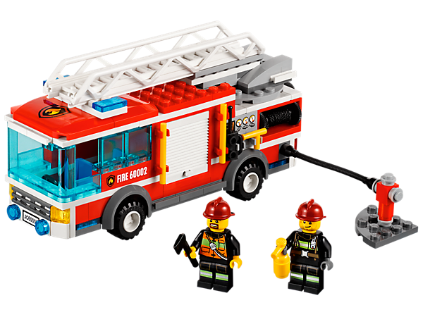 Build the LEGO® City Fire Truck with an extending and rotating ladder, equipment hatch, storage box, firefighters, a fire hydrant and more!