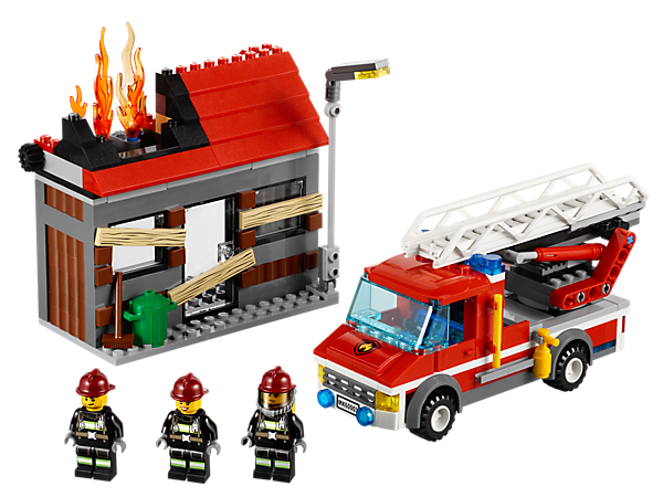 Build the LEGO® City fire truck with extending ladder and hose with water element to save the abandoned house with a cool burnt design!