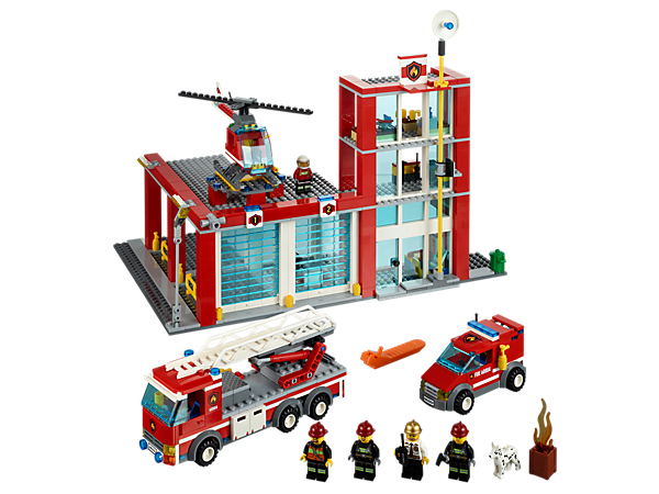 Repair the fire truck, van and helicopter at the LEGO® City Fire Station with firefighters, a fire chief, dog, equipment and more!
