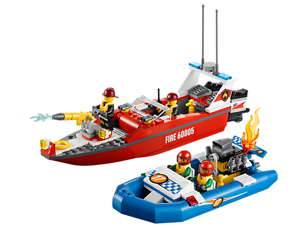Build the LEGO® City Fire Boat to rescue the race boat in distress with firefighters, a rotating water cannon, twin engines and accessories!
