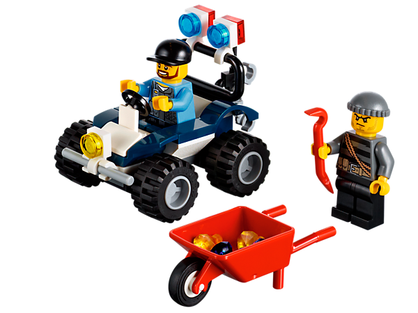 Build the LEGO® City police ATV with an Elite Police officer, burglar, handcuffs, walkie-talkie, wheelbarrow, diamonds and a crowbar!