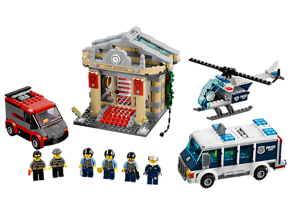 Bust the break-in at the LEGO® City museum with the Elite Police van and helicopter, equipped with a LEGO® light brick spotlight!