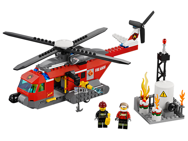 Battle the factory flames with the LEGO® City Fire Helicopter's spinning rotors, rotating water cannon and LEGO Power Functions winch!