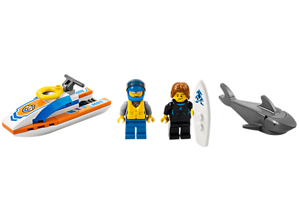 Get the surfer to safety with the LEGO® City Coast Guard rescuer on his watercraft with a surfboard, life preserver, shark and a life jacket!