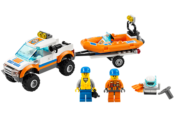 Dive the waters of LEGO® City with the Coast Guard 4x4 and floating Diving Boat with 2 minifigures and lots of accessories!