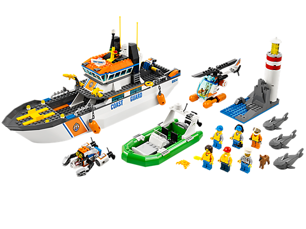 Call the Coast Guard Patrol boat to make the rescue with a helicopter and submarine, a dinghy, lighthouse, 6 minifigures and 3 sharks!