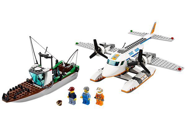 Launch a search and rescue mission with the Coast Guard Plane featuring floats, twin propellers and a fishing boat with accessories!