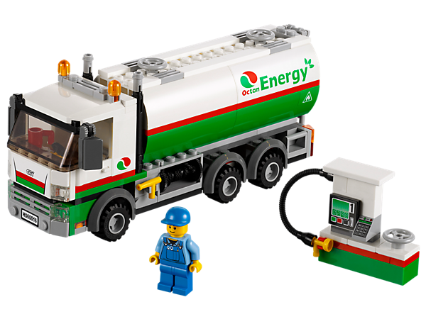 Keep the LEGO® City gas pump filled up with the powerful Tanker Truck with retractable hose, valve and fire extinguisher!