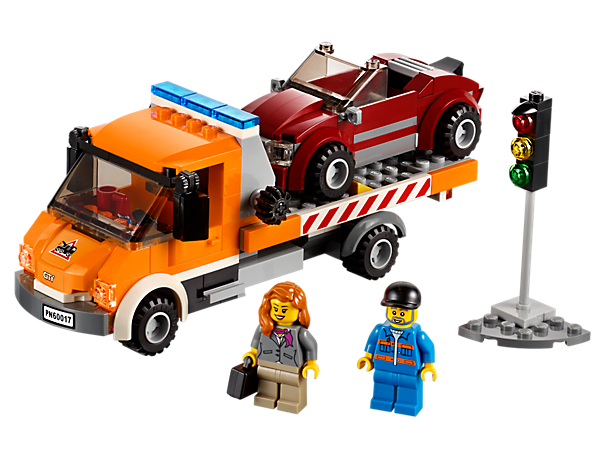Fix the businesswoman's car with the LEGO® City Flatbed Truck with tilting flatbed and a fun working winch function!