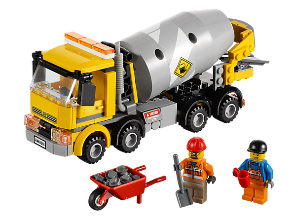 Drive and pour fresh cement at the construction site with the Cement Mixer's rotating drum, movable chute, tipping cab and cement elements!