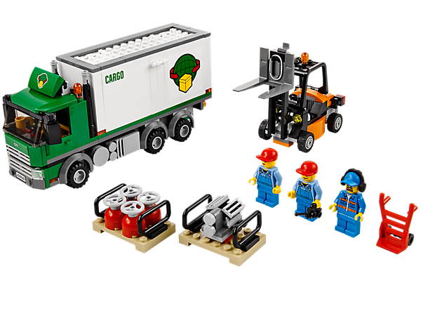 Load up the LEGO® City Cargo Truck with opening side panel and roof spoiler, plus forklift truck, sack truck and accessories!