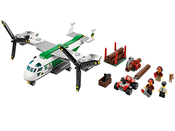 Lift the logs out of the forest with the Cargo Heliplane featuring adjustable rotors, a winch, opening bay door, quad bike, logs and lots more!