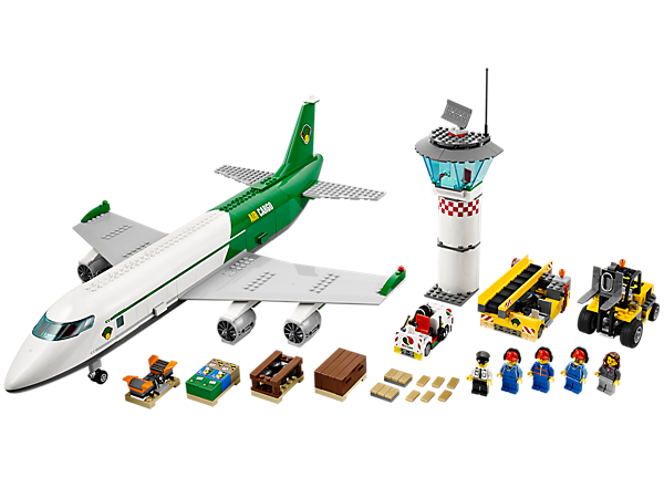 Build the LEGO® City Cargo Terminal with cargo plane, control tower, conveyer belt, Octan™ truck, forklift, buildable ATV and lots more!