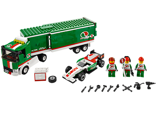 Transport the Formula race car with the Grand Prix Truck featuring an articulated trailer, 3 minifigures and lots of accessories!