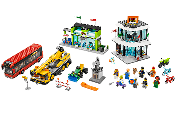 Create a busy LEGO® City Square scene with a statue, bike showroom, pizzeria, mobile crane, street sweeper, 8 minifigures and lots more!