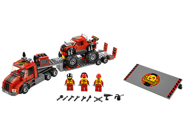 <p>Drive the LEGO® City Monster Truck Transporter to the show with an articulated trailer, monster truck, ramp, toolbox, tools and accessories!</p>
