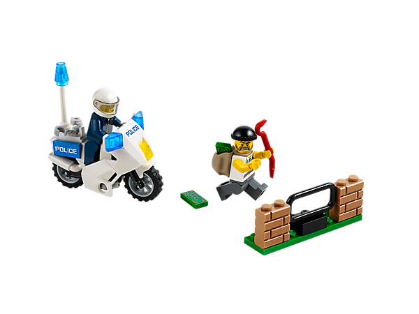Launch an all-action LEGO® City Crook Pursuit with policeman, police motorbike, wall and fence, and a crook with backpack and stolen money!