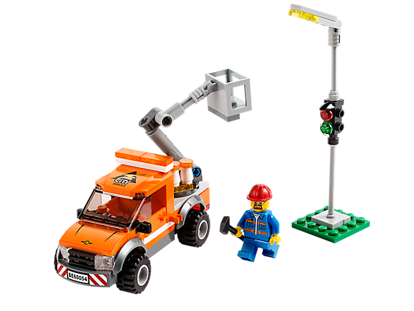 Fix the traffic light with the Light Repair Truck with lifting crane arm, basket, streetlight, light bulb, traffic cones, tools and more!