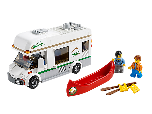Go on amazing adventures with the LEGO® City Camper Van with opening doors, 2 roof compartments, detachable canoe and 2 minifigures!