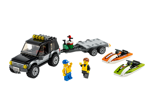 Have fun in the sun with the LEGO® City SUV with Watercraft set featuring detachable trailer, 2 Watercraft, 2 minifigures and more!