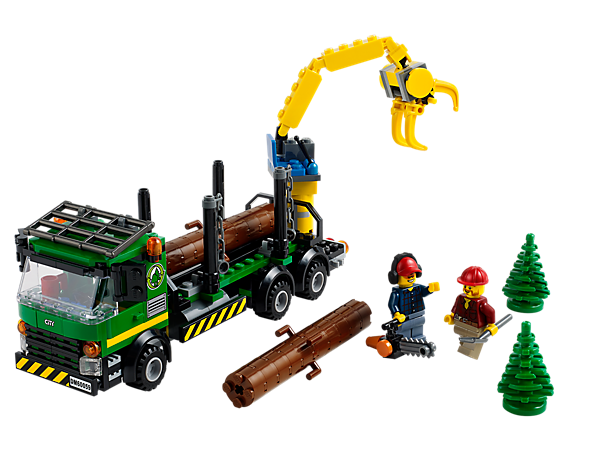 Collect the logs with the LEGO® City Logging Truck with moving crane arm, grabber, securing chains, 2 minifigures and accessories!