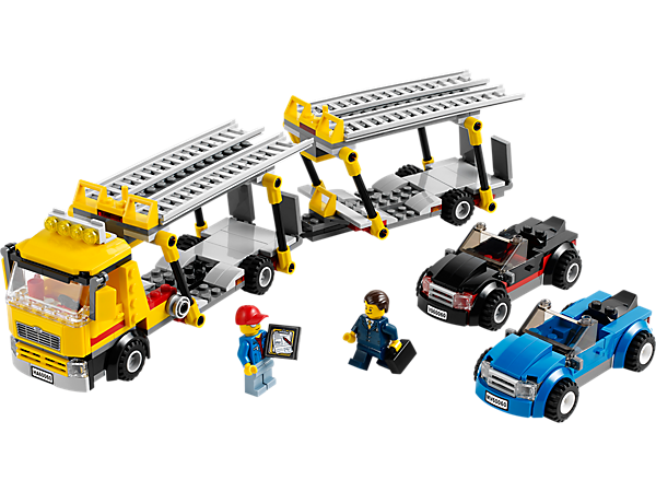 Deliver the cars with the LEGO® City Auto Transporter with lowering ramps, detachable trailer, 2 cool sports cars, 2 minifigures and more!
