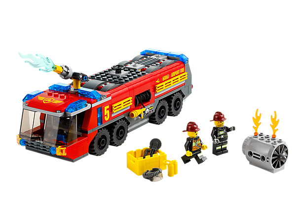 Douse the flames with the LEGO® City Airport Fire Truck with rotating water cannon, burning jet engine, realistic water elements and more!