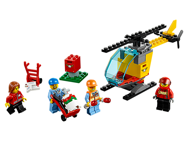 <p>Help empty the mailbox and load the mail helicopter ready for takeoff. Includes 4 minifigures, 3 pieces of mail, 2 hand trucks and accessory elements.</p>