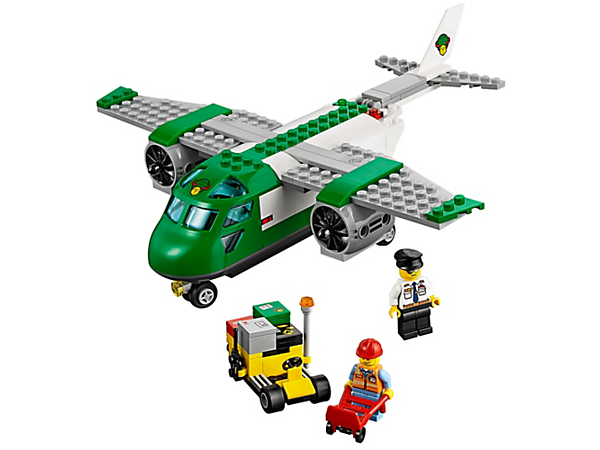 Load the packages onto the Airport Cargo Plane and prepare to deliver them to customers. Includes 2 minifigures, an airport service car and 4 packages.