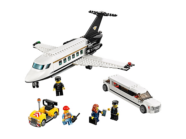 Make sure the businesswoman arrives at her private plane on time to takeoff. Includes 4 minifigures, private limousine, private airport service vehicle, plus accessories.