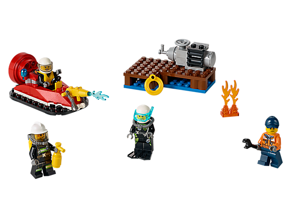 Put out the pier fire and rescue the dockworker with the fire hovercraft, with fire nozzle and rotating propeller, plus 4 minifigures and accessories.