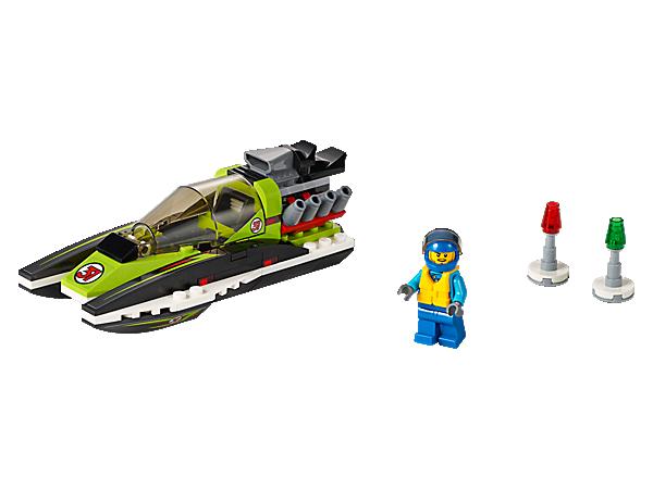 la course sera mouvemente bord du bateau de course lego city avec 2