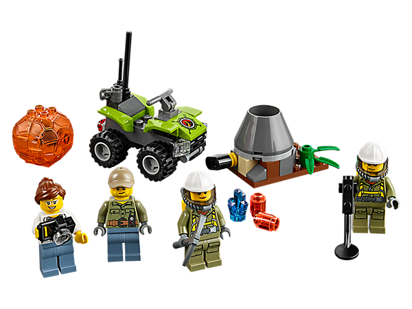 Ride out to the volcano with eruption function and then open the boulder to discover the hidden crystal. Includes an ATV and 4 minifigures.