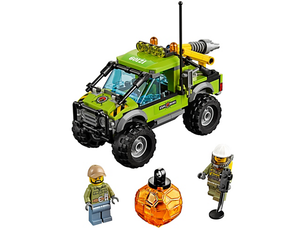 <p>Take the Volcano Exploration Truck to pick up the boulder and drive it back to the lab for more tests. Including an attached drill arm and hook, plus 2 minifigures.</p>