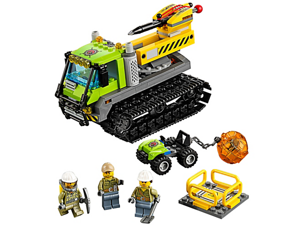 Drive the big Volcano Crawler to the volcano site to crack open the toughest boulders and make big discoveries. Includes an ATV, boulder and 3 minifigures.