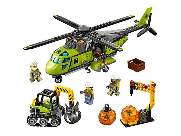 <p>Transport heavy equipment and haul out samples with the Volcano Supply Helicopter, with excavator and boulder opener tool. Includes 3 minifigures.</p>