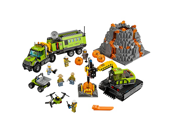 Drive the mobile operations center to the volcano site and get discovering with the drone, excavator, 6 minifigures and accessories.