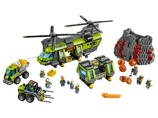 <p>Haul in the mobile lab with the Volcano Heavy-lift Helicopter with lowering crane, boulder cracker, dumper, lifter, volcano with eruption function, and 8 minifigures.</p>