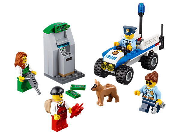 Use the police ATV to stop the crooks from emptying the ATM, featuring a police radio, handcuffs, jackhammer, ATM with money bills, four minifigures and a police dog figure.