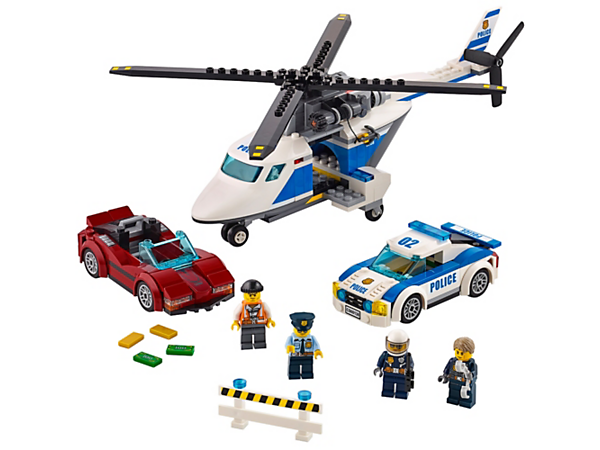 Help LEGO® City hero Chase McCain pursue the crook and recover the loot and stolen sports car, including a helicopter with winch, police pursuit car and four minifigures.