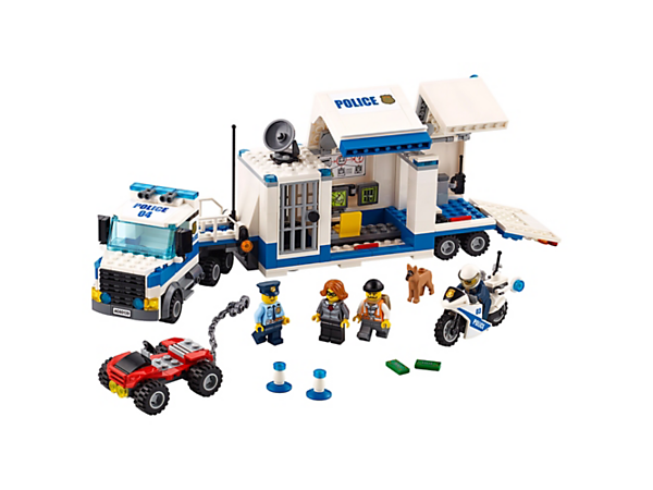 Catch the crook breaking out of the Mobile Command Center, featuring a detachable cab, loaded trailer, police motorbike and an ATV, plus four minifigures and a police dog figure.