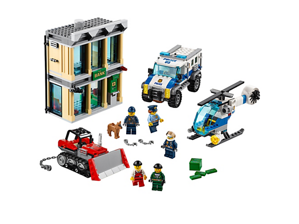 Use the police helicopter and truck to stop the crooks from ripping out the bank safe and ATM, featuring a bulldozer, accessory elements, five minifigures and a police dog figure.
