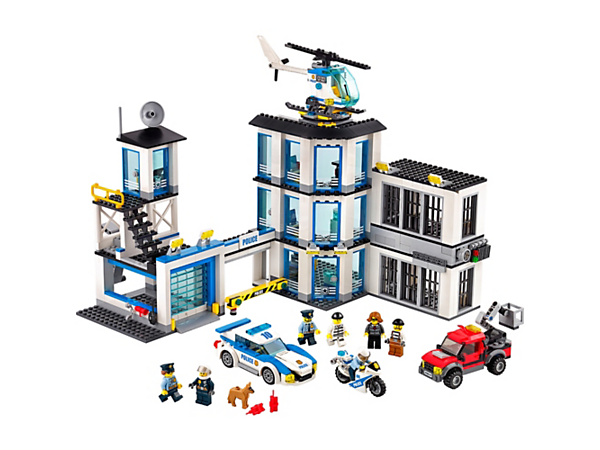 Check out the Police Station, featuring an exploding cell wall, police helicopter, pursuit car and motorbike, plus crooks' truck, seven minifigures and a police dog figure.