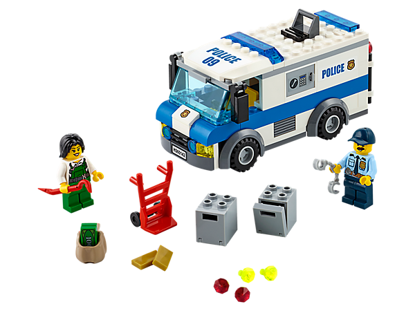 <p>Catch the crook stealing the safes after she breaks into the Money Transporter, featuring a trapdoor on the roof, hand truck, gold bars, jewels, money bills and two minifigures.</p>