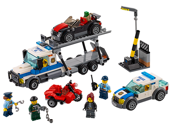 <p>Stop the Auto Transport Heist, featuring an auto transporter with lowering ramp, two-level rack, police car, crooks' motorbike with sidecar, crooks' car and four minifigures.</p>
